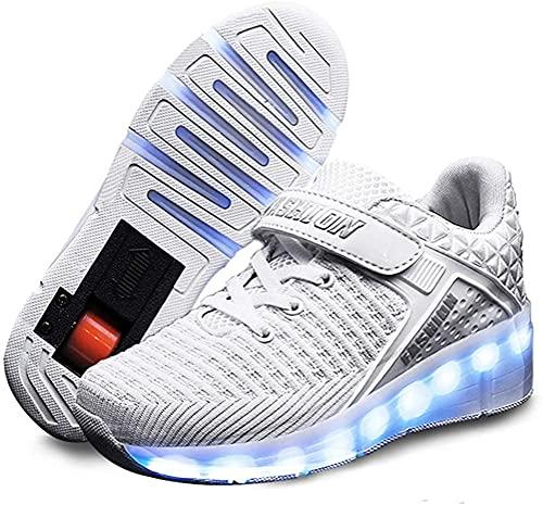 XRDSHY LED Zapatillas De Deporte De Moda Niños Niñas Niños Iluminar Llantas Skate Shoes Cómodo Malla Superficial Zapatos Zapatos De Roller De Acción De Gracias Día De Navidad Mejor Regalo,White-33