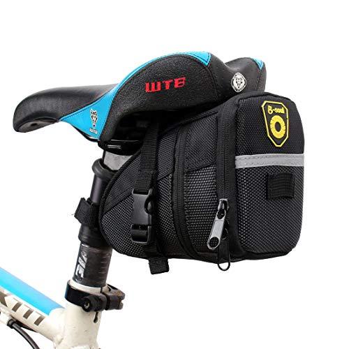 YABAISHI Bicicleta Sillín Bolsa Impermeable MTB Road Bike Accesorios Asiento Post Bolsa Bolsa Trasera Bolsa Bolsa de Bicicleta (Color : Black)