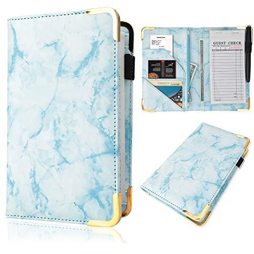 Server Book - Waitress/Waiter Book Organizer with Zipper Pouch, Guest Check Book Holder Money Pocket Restaurant Waitstaff Organizer (Blue)