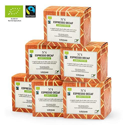 Sjostrand N4 Decaf Espresso   Bio Kaffeekapseln Nespresso kompatibel, 60 Kapseln   100{1c9ce417d4318726bffb1c1989101b0a655157d18c2e5b2adae0c73b1da2726c} kompostierbar, 0{1c9ce417d4318726bffb1c1989101b0a655157d18c2e5b2adae0c73b1da2726c} Aluminium   Fairtrade, umweltfreundlich & nachhaltig…