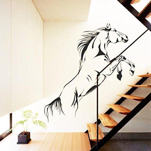 Ouneed® Wandaufkleber Wandtattoo Wandsticker, Schwarzes laufendes Pferden-Wand-Aufkleber-entfernbares Vinylabziehbild-Kunst-Wandhauptdekor