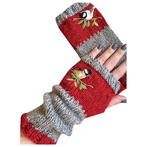 Daringjourney Damen bestickte warme Handschuhe Halb Fingerhandschuhe Winter Fingerlose Handschuhe Strickhandschuhe Verdickte Extra Warme Handschuhe Winterhandschuhe für Damen