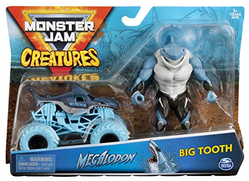 DieCast MonsterJam Creatures 2 Pack Megalodon and Big Tooth Shark Action Figure