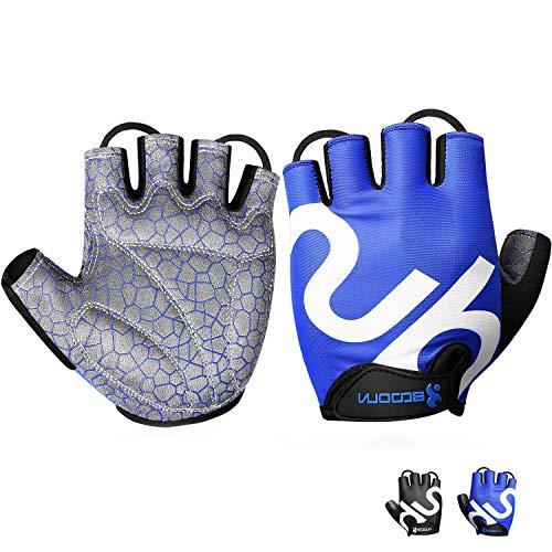 Neusky Fahrradhandschuhe für Männer & Frauen,Radsporthandschuhe Mountainbike Handschuhe Trainingshandschuhe für Dame und Herren,Ideal Fingerlos Handschuhe für Rennrad,MTB,Fitness und Sport (Blau, XL)