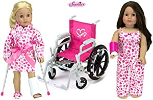 18 In Doll Pajamas and Wheelchair Set Pink Heart Pajama Set Includes: Tank Top, Pants, Robe and Slippers Wheelchair, Leg Cast, Arm Cast, Bandage and Crutches Sized for 18 inch dolls, like the American Girl. Doll Not Included Made by Sophia's, Leading...