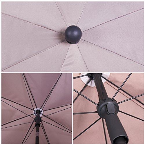 Sekey® Sonnenschirm 200 cm Marktschirm Gartenschirm Terrassenschirm Taupe Rund Sonnenschutz UV25+ - 4