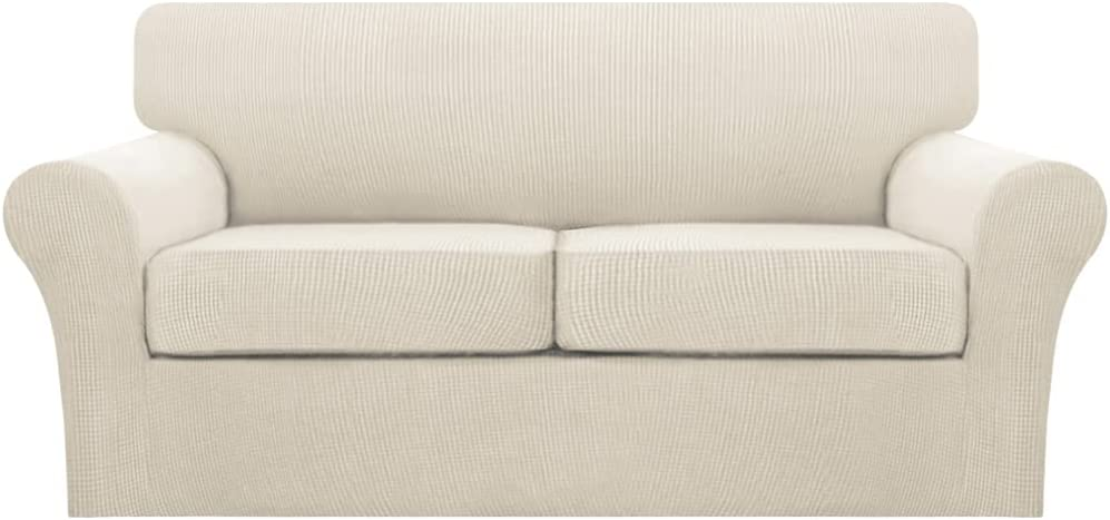 Turquoize 3 Piece Sofa Cover Stretch Couch Covers for 2 Cushion Couch Sofa Covers for Living Room Sofa Slipcovers with 2 Large Individual Cushion Covers, Thick Soft Fabric (Large, Biscotti Beige)