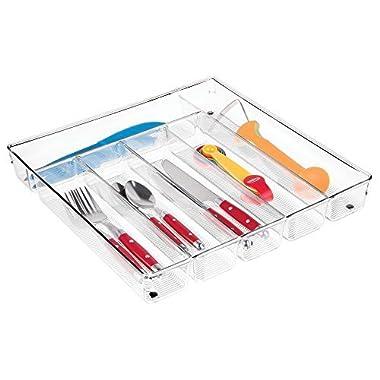 mDesign Kitchen Drawer Organizer for Silverware, Spatulas, Gadgets - Clear