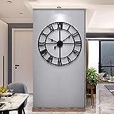 Reloj de pared de metal de 60 cm, reloj de pared grande, silencioso, no tictac, funciona con pilas, números romanos vintage, relojes modernos redondos para decoración de sala de estar