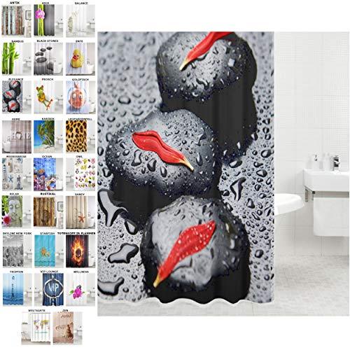 Sanilo Duschvorhang, viele schöne Duschvorhänge zur Auswahl, hochwertige Qualität, inkl. 12 Ringe, wasserdicht, Anti-Schimmel-Effekt (Elegance, 180 x 200 cm)