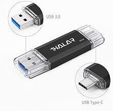 THKAILAR Dual Flash Drive(USB A-3.0/USB C-3.1) USB Drive 3.0 OTG Type C High Speed USB Memory Disk Compatibal USB C Cell Phones, Tablets, PC MacBook (64GB, Black)