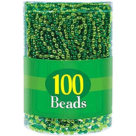 Amazon Com Amscan Oblong Beads Pack Necklace 100 Ct 7 2 X 5 8 X 5 8 Green Light Green Kitchen Dining