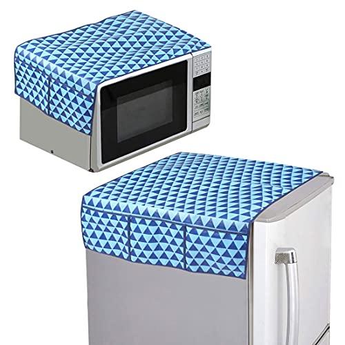 PrettyKrafts Set di 2 coperture per elettrodomestici Combo di 1 coperchio superiore per frigorifero e 1 coperchio superiore per microonde (blu)