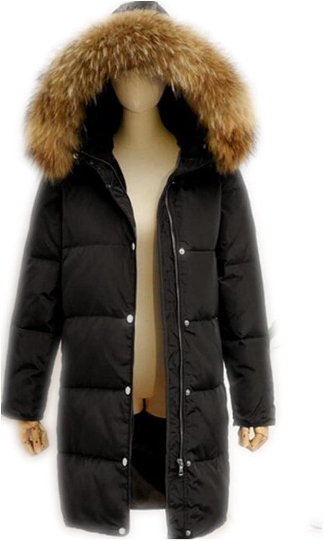 QfNZqT Fur Collar Long Thick Women Duck Down Detachable Windproof Outwears
