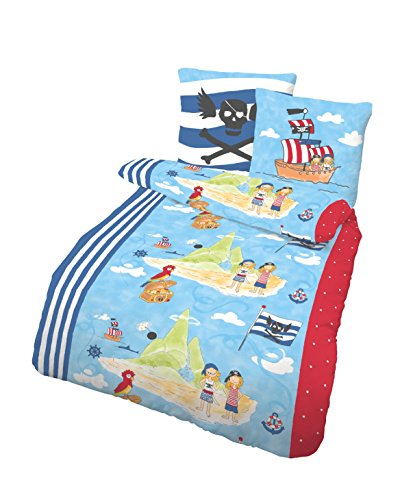Träumschön Piraten Bettwäsche 135x200 Jungen | Piraten Motiv Bettwäsche aus 100% Baumwolle | Biber Bettwäsche 135x200 cm & Kissenbezug 80x80 | 2teilig
