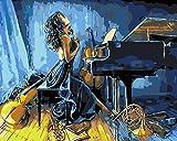 YUHHGFK Pintar por Numeros Chica Piano Pintura al óleo de...