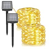 Outdoor Solar String Lights, Rope Lights 2-Pack 33Ft Powered by Solar, 8 Modes 100 LEDs IP65 Waterproof LED Solar Fairy Lights for Patio Garden Party Home Decor (Warm White)
