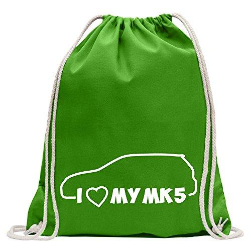 Kiwistar Hoy acojo con satisfacción MI Mk5Divertido Mochila Deportivo para Fitness. Gimnasio para el Shopping de Algodón con cordón, Unisex Adulto, Verde pallido, 37 x 46cm