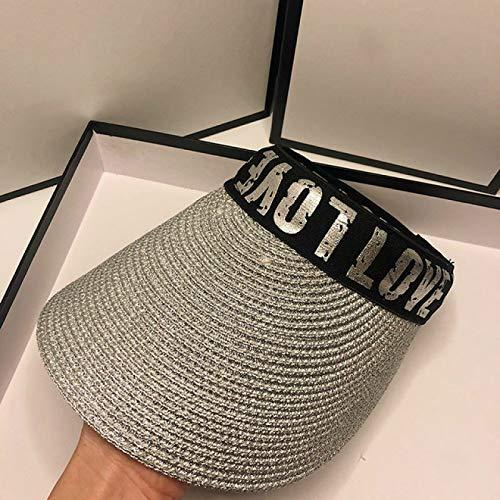 JFCXBSSL Sombreros de sol de las Mujeres 56-58Cm de Oro de Plata de las Mujeres de la Parte Superior de la Visera Tapas de Verano de Paja Sombreros de Sol de Moda de Uv Sombrero de Playa Sombrero de