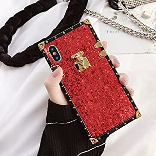 Red Glitter Soft TPU Suitcase Shape Phone Case for iPhone X iPhoneX Glittery Bling Sparkling Shiny Retro Travel Trunk Luxury Designer Top Brand Stylish Fashionable High Fashion Bold Girls Women Gift