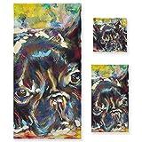 Juego de Toallas de baño de Lujo de algodón de 3 Piezas para Mujeres, Hombres, baño, Cocina, 1 Toalla de baño, 1 Toallas de Mano, 1 toallitas, Arte de Perro Toro francés