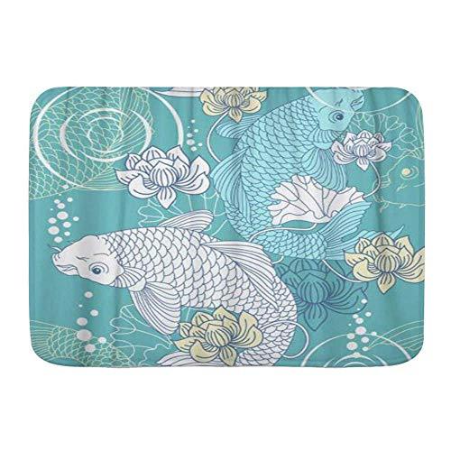 LiminiAOS Alfombra de baño, Carpa koi Japonesa, Flores de pez de Loto Chino, Alfombrillas de decoración de baño Ultra Suaves absorbentes Antideslizantes
