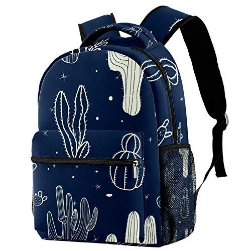 Mochila Sketchy Cactus Pintura Azul Marino Fondo Escuela Mochila Mochila Viaje Casual Mochila para Mujeres Adolescentes Niñas Niños