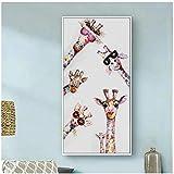 Bunte Graffiti-Kunst Tier Neugierige Giraffen Familie