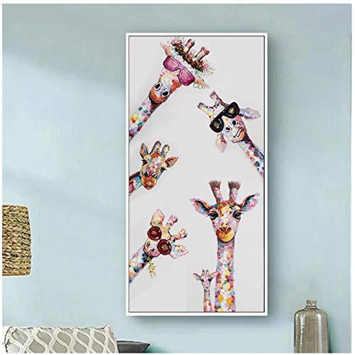 Bunte Graffiti-Kunst Tier Neugierige Giraffen Familie Leinwand Malerei Poster und Drucke Wandkunst Bild Wohnkultur 40x80cm / 15.7