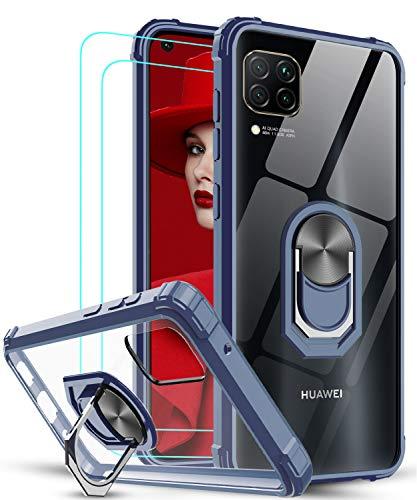 LeYi für Huawei P30 Lite/P30 Lite New Edition Hülle mit Panzerglas Schutzfolie(2 Stück), Ringhalter Schutzhülle Crystal Clear Acryl Cover Handy Hüllen für Hülle Huawei P30 Lite 2020 Handyhülle Blau