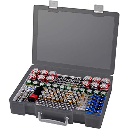 Batterie Aufbewahrungsbox - Batterien Aufbewahrung Organizer mit Batterietester Akkutester BT-618. Batterieaufbewahrungsboxfasst hält 225 Batterien für 9V Block batterien Akku AA, AAA, C, D, 1.5V