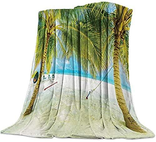 Manta de forro polar de franela, palmeras de coco, estilo relajante, suave, ligera, acogedora manta de felpa para sofá cama durante toda la temporada, 127 x 152 cm