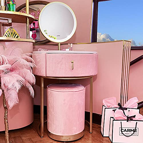 Carme Ibiza - Tavolo da toeletta in velluto con sensore touch a LED, colore: Rosa ballerina