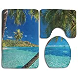 TERPASTRY A Tropical Island with Palm Trees and Bright Sea Beach Theme Bath Mat Toilet Seat Cover Rug Bathroom Mat Set Bathroom Decorations Soft Flannel Skidproof 3 Piece Bath Rugs Set