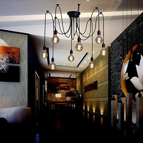 Oursun Kronleuchter Industrie Pendelleuchte Vintage Retro Spinne Lampe Hängend Deckenleuchte Hängelampe Pendellampe für Schlafzimmer Wohnzimmer Esszimmer (8 lights) - 5