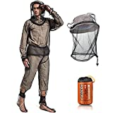 Suit Include Jacket Hood, Face Covering, Pants Net, Leg Gaiter, Gloves and Storage Whole Body Clothing for Outdoor Camping Fishing