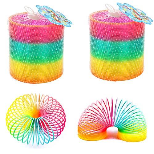 gotyou 4 Piezas Circulo Arcoiris,Juguete Magia Elástica,Juguetes Saltarines,Rainbow Espiral de Juguete,Juguetes de Ciencia y Educación,Juguete para Niños y Adultos(Colores de Neón)