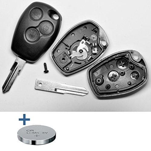 Auto Schlüssel Funk Fernbedienung 1x Gehäuse 3 Tasten + 1x Rohling VAC102 + 1x CR2016 Batterie + 1x Batteriespange kompatibel mit Renault/Dacia/Opel