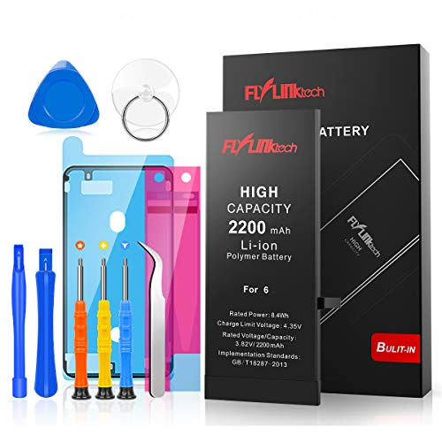 FLYLINKTECH for iPhone 6 Battery, 2200mAh High Capacity Li-ion Polymer with All Repair Replacement Kit Tools-Included 24 Months Assurance