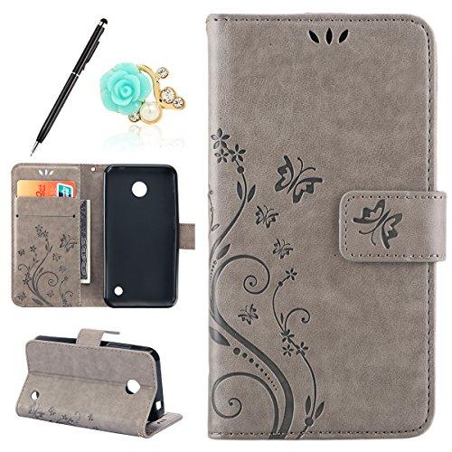 Uposao Kompatibel mit Nokia Lumia 630 Lederhülle Handyhülle Leder Tache Retro Vintage Schmetterling Muster Brieftasche Schutzhülle Flip Wallet Cover Handytasche mit Kartenfächer,Grau