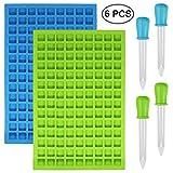 Senhai, 2 stampi quadrati in silicone, 126 cavità, flessibili e antiaderenti, per cubetti di ghiaccio, caramelle, fudge, cioccolato, gelatina, 1 blu e 1 verde