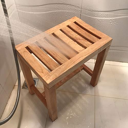 RTY-BY Wasserfest Duschbank Badhocker for Senioren Bad Stuhl Badezimmer Hocker Holz Dusche Bank Erwachsene Anti-Rutsch Duschsitz Badewanne Badehocker Spa ändern Schuhe Hocker, 42 × 28 × 43cm