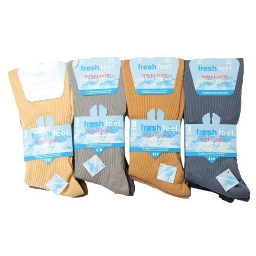 Bout sans couture Lot de 12 paires de chaussettes avec poignée à prise en main facile diabétique non élastique Voyage Chaussettes de compression taill