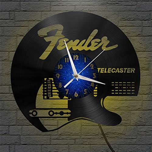 Telecaster - Reloj de Pared con Disco de Vinilo de 12 Pulgadas...