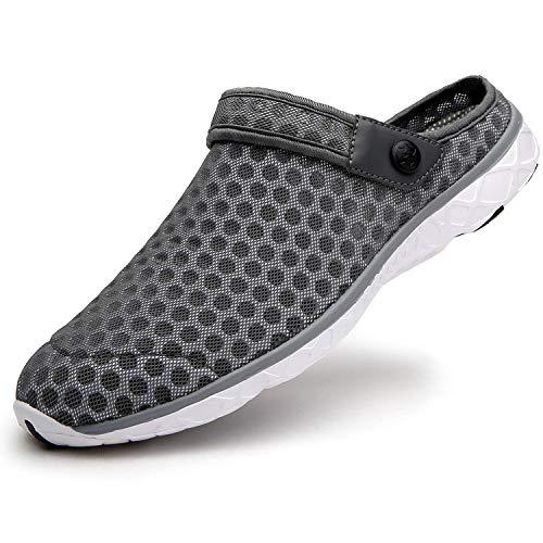Zuecos Hombres Mujer Zapatillas de Playa Respirable de Jardin Interior Exterior Antideslizante Cómodos Sandalias Zapatos Verano 36-48 EU
