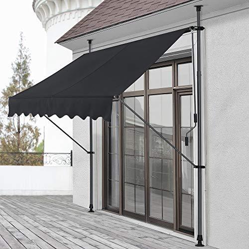 pro.tec] Toldo articulado tamaños - Toldo Enrollable terraza balcón - Protector de Sol - Parasol (Negro, 300 x 120 x 200-300cm)