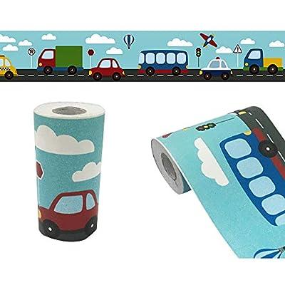 Yifely Traffic Car Wallpaper Border Self-Adhesive Wall Decor Sticker for Kids Room Nursery School Classroom