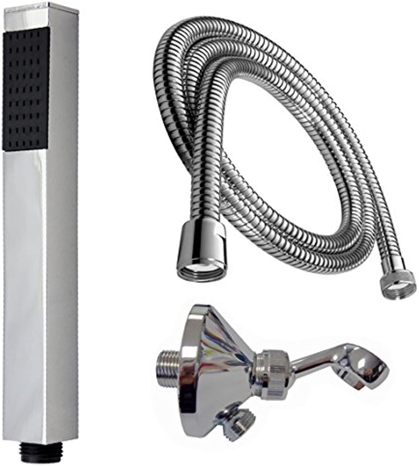 Square Hand Shower Brass with hose 150?cm Shower Head Holder Wall Connection