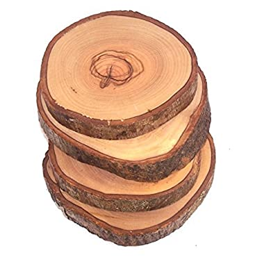 Hand Carved Olive Wood Natural Coaster Set of 4 (about 3.5 Inches each) - Asfour Outlet Trademark