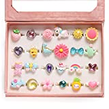 PinkSheep Little Girl Jewel Rings in Box, Adjustable, No Duplication, Girl Pretend Play and Dress Up Rings (24 Lovely Ring)